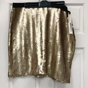 DKNYC Gold Sequin Mini Skirt